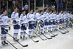 February 20, 2016 - Colorado Springs, Colorado, U.S. -   Air Force Falcons during the National Anthem prior to an NCAA ice hockey game between the Robert Morris University Colonials and the Air Force Academy Falcons at Cadet Ice Arena, United States Air Force Academy, Colorado Springs, Colorado.  Air Force defeats Robert Morris 4-1