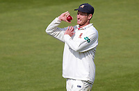 Tom Westley of Essex helps Matt Quinn with his bowling warm-up during Surrey CCC vs Essex CCC, Specsavers County Championship Division 1 Cricket at the Kia Oval on 14th April 2019