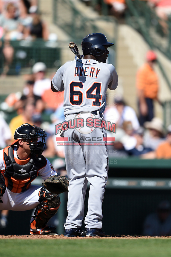 Detroit Tigers outfielder Xavier Avery (64) during a Spring Training game against the Baltimore Orioles on March 4, 2015 at Ed Smith Stadium in Sarasota, Florida.  Detroit defeated Baltimore 5-4.  (Mike Janes/Four Seam Images)