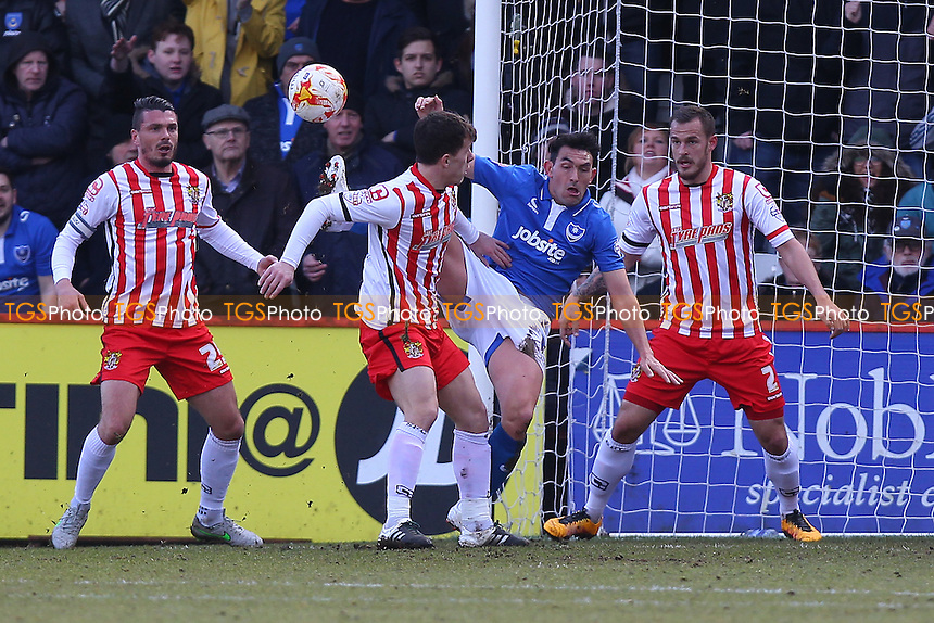 Gary Roberts of Portsmouth is denied a goal by Luke Wilkinson of Stevenage during Stevenage vs Portsmouth, Sky Bet League 2 Football at the Lamex Stadium, Stevenage
