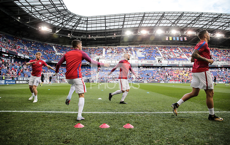 Harrison, N.J. - Friday September 01, 2017: Tim Ream, Christian Pulisic, Michael Bradley, Geoff Cameron  during a 2017 FIFA World Cup Qualifying (WCQ) round match between the men's national teams of the United States (USA) and Costa Rica (CRC) at Red Bull Arena.