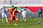 Kairat Zhyrgalbek of Kyrgyz Republic (R) is tackled by Gao Lin of China (L) during the AFC Asian Cup UAE 2019 Group C match between China (CHN) and Kyrgyz Republic (KGZ) at Khalifa Bin Zayed Stadium on 07 January 2019 in Al Ain, United Arab Emirates. Photo by Marcio Rodrigo Machado / Power Sport Images