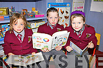 Hannah Dempsey and twins Reuben and Alishia Daly who started school last Thursday in Knockaclarig NS.