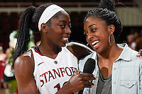 STANFORD, CA - February 27, 2014: Stanford Cardinal's Chiney Ogwumike and Nneka Ogwumike after Stanford's 83-60 victory over Washington at Maples Pavilion.