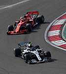15.04.2018, Shanghai Audi International Circuit, Shanghai, 2018 FORMULA 1 HEINEKEN CHINESE GRAND PRIX, 12.04. - 15.04.2018<br /> im Bild<br />Valtteri Bottas (FIN#77), Mercedes AMG Petronas Formula One Team, Sebastian Vettel (GER#5), Scuderia Ferrari<br /> <br /><br /> <br /> Foto &copy; nordphoto / Bratic