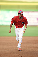 Clearwater Threshers shortstop J.P. Crawford (2) running the bases during a game against the Tampa Yankees on June 26, 2014 at Bright House Field in Clearwater, Florida.  Clearwater defeated Tampa 4-3.  (Mike Janes/Four Seam Images)