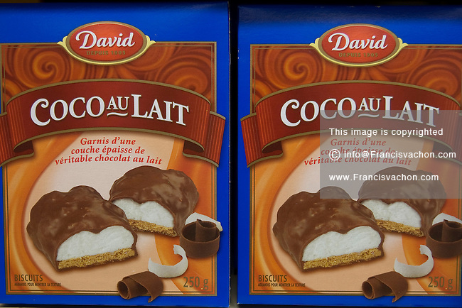 Boxes of David coco au lait cookies are seen in a Metro grocery store in Quebec city March 4, 2009.
