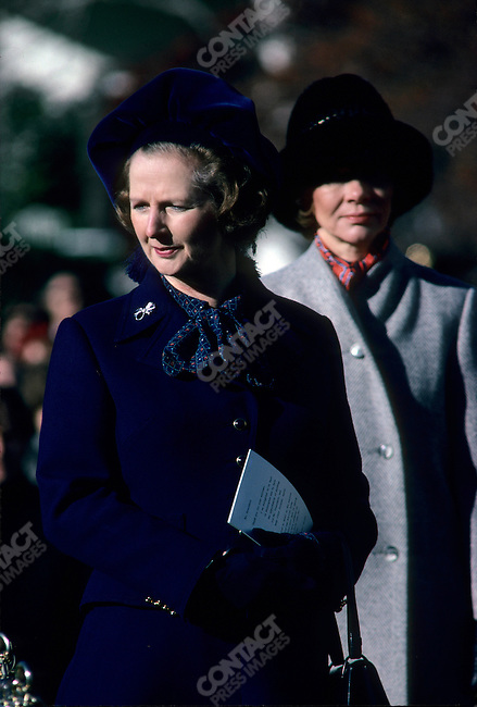British Prime Minister Margaret Thatcher with American First Lady Roslyn Carter during a state visit to the White House, Washington, D.C., USA, December 1979