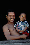 Portrait of a Cuban father and child, Havana, Cuba
