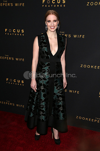 "HOLLYWOOD, CA - March 27: Jessica Chastain, At The Premiere Of Focus Features' ""The Zookeeper's Wife""  At The ArcLight Hollywood In California on March 27, 2017. Credit: FS/MediaPunch"