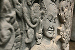 Cite fortifiee d'Angkor Thom. bas relief sculpte du temple  Bayon.  Cambodge.