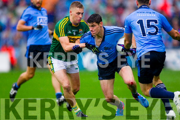 Peter Crowley Kerry in action against Diarmuid Connolly Dublin in the All Ireland Senior Football Final in Croke Park on the 20th September 2015.