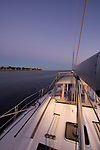Beneteau 49 Sailboat on the Charleston harbor south carolina dusk