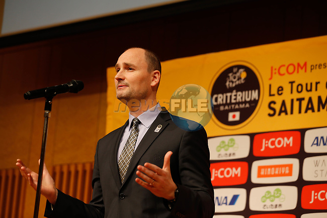 Jean-Etienne Amaury speaks at the Opening Ceremony before the 2018 Saitama Criterium, Japan. 3rd November 2018.<br /> Picture: ASO/Yuzuru Sunada | Cyclefile<br /> <br /> <br /> All photos usage must carry mandatory copyright credit (© Cyclefile | ASO/Yuzuru Sunada)