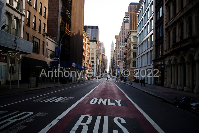 New York, New York<br /> March 20, 2020<br /> 5:52 PM<br /> <br /> Manhattan under the coronavirus pandemic. <br /> <br /> East-Broadway void of people in Manhattan at Friday rush-hour.<br /> <br /> Normally this street would be filled with cars and people.