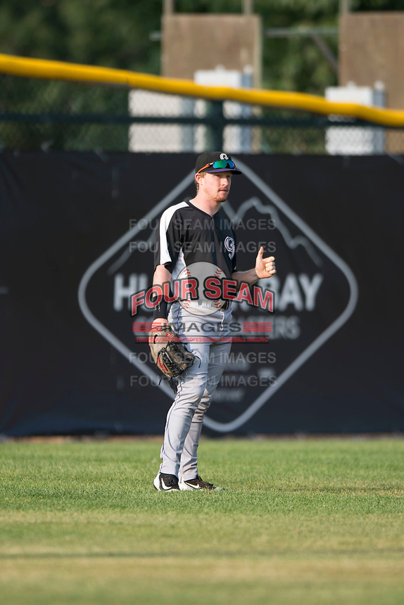 Grand Junction Rockies left fielder Zach Hall (8) during a Pioneer League game against the Missoula Osprey at Ogren Park Allegiance Field on August 21, 2018 in Missoula, Montana. The Missoula Osprey defeated the Grand Junction Rockies by a score of 2-1. (Zachary Lucy/Four Seam Images)