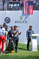 Si Woo Kim (KOR) has some fun with the international crowd on the first tee during round 4 Singles of the 2017 President's Cup, Liberty National Golf Club, Jersey City, New Jersey, USA. 10/1/2017. <br /> Picture: Golffile | Ken Murray<br /> <br /> All photo usage must carry mandatory copyright credit (&copy; Golffile | Ken Murray)