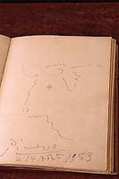 """Europe/France/Languedoc-Roussillon/66/Pyrénées-Orientales/Collioure: détail du livre d'or de l'hôtel restaurant """"Les Templiers"""" - Pablo Picasso de passage en 1953"""