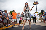 Republican presidential candidate, Rep. Michele Bachmann speaks at a campaign stop held at a Pizza Ranch in Newton, Iowa, August 5, 2011.