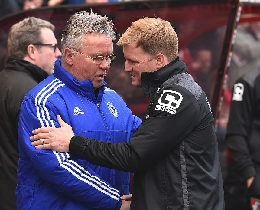 Chelsea manager Guus Hiddick (l) and Bournemouth manager Eddie Howe (r)<br /> <br /> Bournemouth 1 - 4 Chelsea 4<br /> <br /> Photographer David Horton/CameraSport<br /> <br /> Football - Barclays Premiership - Bournemouth v Chelsea - Saturday 23rd April 2016 - Vitality Stadium - Bournemouth<br /> <br /> &copy; CameraSport - 43 Linden Ave. Countesthorpe. Leicester. England. LE8 5PG - Tel: +44 (0) 116 277 4147 - admin@camerasport.com - www.camerasport.com