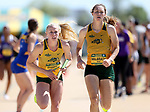 FARGO, ND - MAY 13: Jenny Guibert from North Dakota State University takes the baton for her leg of the women's 4x400 meter relay Saturday at the 2017 Summit League Outdoor Track Championship at the Ellig Sports Complex in Fargo, ND. (Photo by Dave Eggen/Inertia)