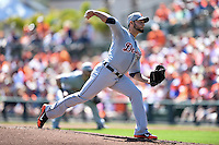 Detroit Tigers pitcher Anibal Sanchez (19) during a Spring Training game against the Baltimore Orioles on March 4, 2015 at Ed Smith Stadium in Sarasota, Florida.  Detroit defeated Baltimore 5-4.  (Mike Janes/Four Seam Images)
