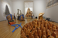Pictured: Some of the works of sculptor David Nash. Wednesday 01 May 2019<br /> Re: Exhibition of sculptor David Nash at the National Museum of Wales in Cardiff, Wales, UK.