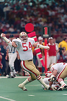 NEW ORLEANS, LA - Matt Millen of the San Francisco 49ers in action celebrating during Super Bowl XXIV against the Denver Broncos at the Superdome in New Orleans, Louisiana in January of 1990. Photo by Brad Mangin.