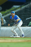 Myrtle Beach Pelicans first baseman Luke Reynolds (34) on defense against the Winston-Salem Dash at TicketReturn.com Field on May 16, 2019 in Myrtle Beach, South Carolina. The Dash defeated the Pelicans 6-0. (Brian Westerholt/Four Seam Images)