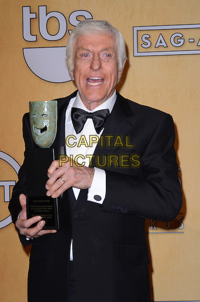 Dick Van Dyke.Pressroom at the 19th Annual Screen Actors Guild Awards held at The Shrine Auditorium, Los Angeles, California, USA..27th January 2013.SAG SAGs half length black tuxedo bow tie white shirt award trophy winner mouth open.CAP/ADM/TW.©Tonya Wise/AdMedia/Capital Pictures.