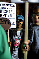 London, 26/11/2014. Today, two separate demonstrations were held outside the US Embassy in London in support and solidarity with the family of Michael Brown and the people of Ferguson (Missouri) after the St Louis County gran Jury (prosecutor Bob McCulloch) announced on Monday 24th November that the police officer Darren Wilson would not be charged for the fatal shooting of ...<br /> <br /> For more pictures on this event click here: &lt;a href= &quot; http://bit.ly/1v0Ib4s&quot;&gt; http://bit.ly/1v0Ib4s&lt;/a&gt;