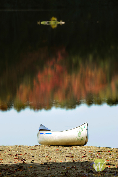 Woodford State Park. Aluminum canoe on beach.
