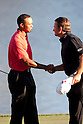 (L-R) Tiger Woods (USA), Northern Ireland (NIR),.MARCH 25, 2012 - Golf :.Tiger Woods of United States shakes hand with Graeme McDowell of Northern Ireland after winning the final round of the Arnold Palmer Invitational at Arnold Palmer's Bay Hill Club and Lodge in Orlando, Florida. (Photo by Thomas Anderson/AFLO)(JAPANESE NEWSPAPER OUT)