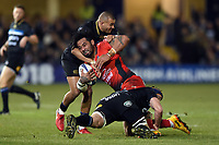 Samu Manoa of RC Toulon is double-tackled. European Rugby Champions Cup match, between Bath Rugby and RC Toulon on December 16, 2017 at the Recreation Ground in Bath, England. Photo by: Patrick Khachfe / Onside Images