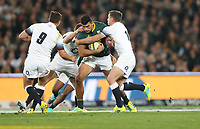Damian de Allende of South Africa tackled by George Ford of England during the 2018 Castle Lager Incoming Series 1st Test match between South Africa and England at Emirates Airline Park,<br /> Johannesburg.South Africa. 09,06,2018 Photo by (Steve Haag Sports)
