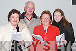 PROGRAMME: Looking over the programme on the dog at the Kingdom Greyhound Stadium, Tralee on Saturday night. were L-r; Mairead,Padraig,peg and catherine Downey (camp)..    Copyright Kerry's Eye 2008