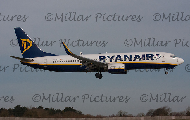 A Ryanair Airlines Boeing 737-8AS Registration Number EI-DLE landing at Dublin Airport on 8.2.11.