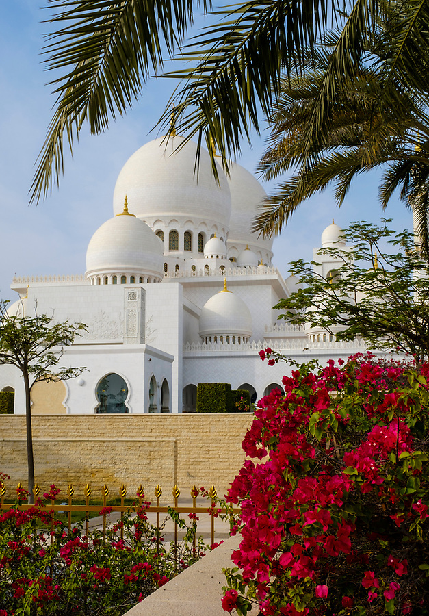 UNITED ARAB EMIRATES, ABU DHABI - CIRCA JANUARY 2017: Sheikh Zayed Mosque as seen from the exteriot gardens