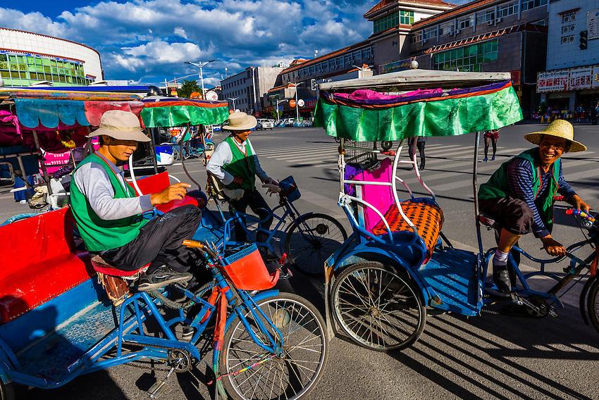 Bicycle rickshaw, Beijing MIddle Road, Lhasa, Tibet (Xizang), China.