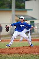 Illinois College Blueboys starting pitcher Ethan Crain (21) delivers a pitch during a game against the Edgewood Eagles on March 14, 2017 at Terry Park in Fort Myers, Florida.  Edgewood defeated Illinois College 11-2.  (Mike Janes/Four Seam Images)