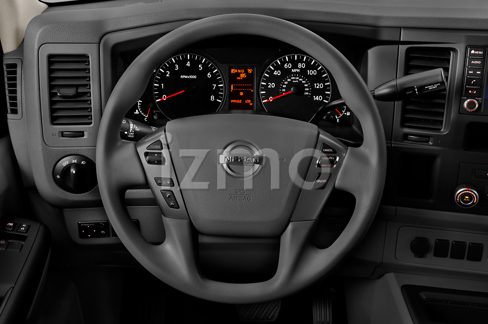 Car pictures of steering wheel view of a 2020 Nissan NV-Passenger S 4 Door Passenger Van Steering Wheel