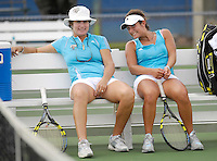 Florida International University Women't Tennis Coach Ronni Bernstein gives some tips to one of her players during the final day of the FIU Spring Invitational, January 19-21, 2007 at Miami, Florida.