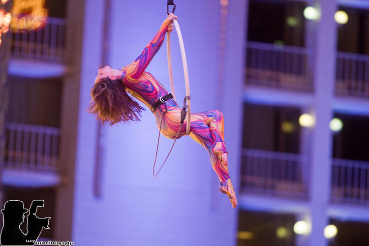kat Barker aerial act on Fremont Street