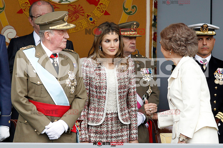 Juan Carlos I King of Spain, Princess Letizia of Spain and Sofia Queen of Spain attend the National Day Military Parad.October 12,2012.(ALTERPHOTOS/Acero) /NortePhotoAgency