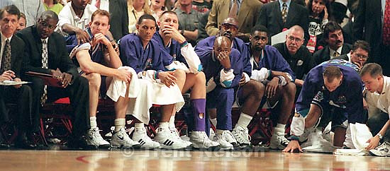 Dejected Jazz bench at Jazz vs. Bulls, game 4 of the NBA Finals. Bulls won<br />