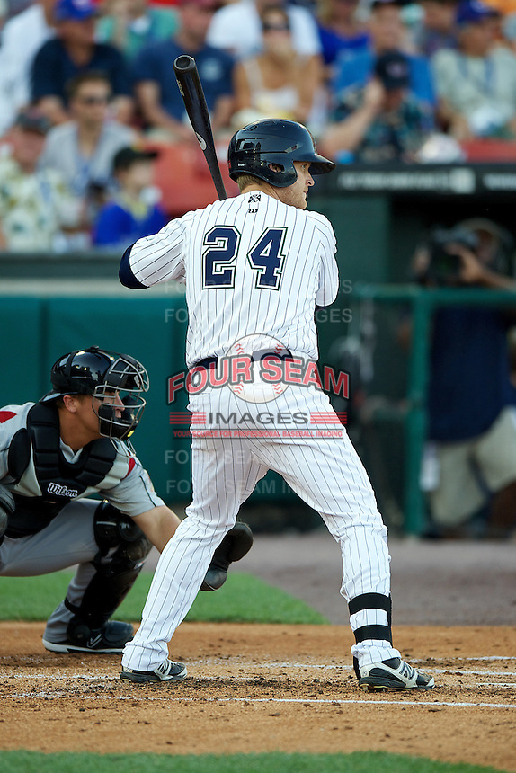 Charlotte Knights infielder Dan Johnson #24 during the Triple-A All-Star game featuring the Pacific Coast League and International League top players at Coca-Cola Field on July 11, 2012 in Buffalo, New York.  PCL defeated the IL 3-0.  (Mike Janes/Four Seam Images)