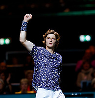Rotterdam, The Netherlands, 11 Februari 2020, ABNAMRO World Tennis Tournament, Ahoy, <br /> Andrey Rublev (RUS) celebrates his win.<br /> Photo: www.tennisimages.com