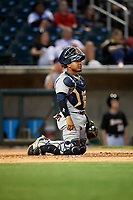 Pensacola Blue Wahoos catcher Chadwick Tromp (13) during a game against the Birmingham Barons on May 8, 2018 at Regions Field in Birmingham, Alabama.  Birmingham defeated Pensacola 5-2.  (Mike Janes/Four Seam Images)