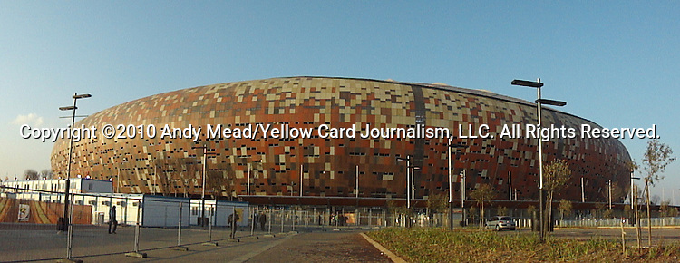 10 JUN 2010: Exterior shot of Soccer City Stadium. The Mexico National Team held a light practice at Soccer City Stadium in Johannesburg, South Africa the day before playing South Africa in the opening match of the 2010 FIFA World Cup.