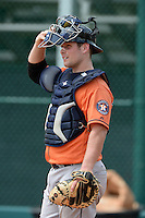 Houston Astros catcher Brian Holberton (35) during practice before an Instructional League game against the Atlanta Braves on September 22, 2014 at the ESPN Wide World of Sports Complex in Kissimmee, Florida.  (Mike Janes/Four Seam Images)